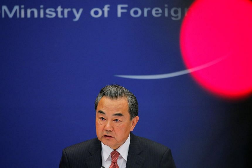 China's Foreign Minister Wang Yi addressing reporters in Beijing, China, on May 26.