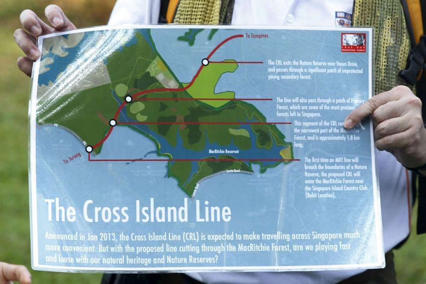 Volunteers speak about how the Cross Island Line will affect the central catchment area as they lead a nature tour in MacRitchie Nature Reserve, on March 19, 2016.