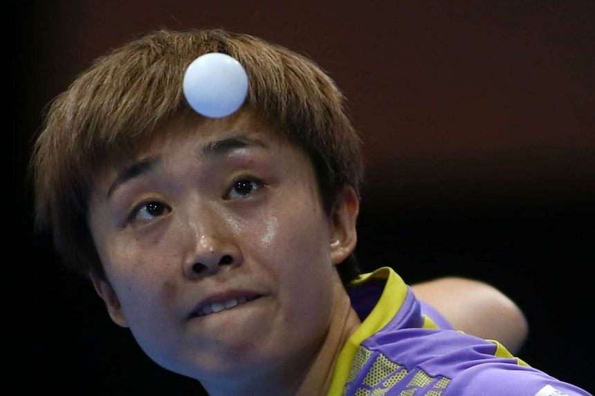 Feng Tianwei of Singapore in the ITTF Nakheel Table Tennis Asian Cup, on April 30, 2016 in Dubai.