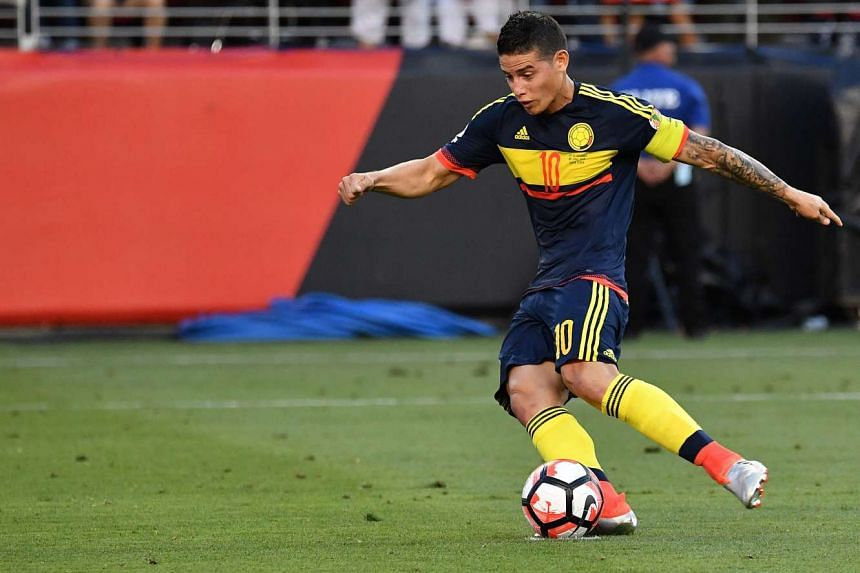 Colombia's James Rodriguez takes a penalty kick to score against the USA during the Copa America Centenario football tournament match in Santa Clara, California, on June 3, 2016.