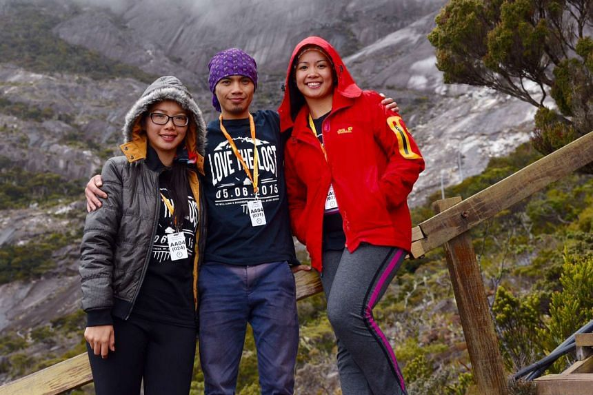 (From left) Ms Priscilla Justin, 28 (girlfriend of Mr Ricky Masirin, who died on the trail),  Mr Vanleorant Johannes, 26 and Ms Jessica Veronica Sikta, 26.