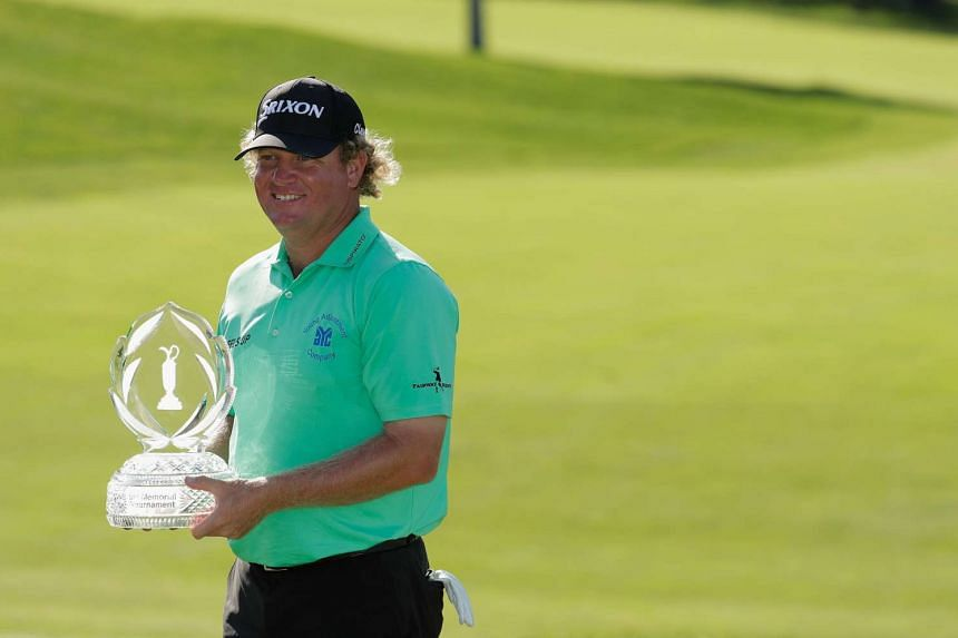 William McGirt poses with the trophy after winning The Memorial Tournament at Muirfield Village Golf Club on June 5, 2016, in Dublin, Ohio.