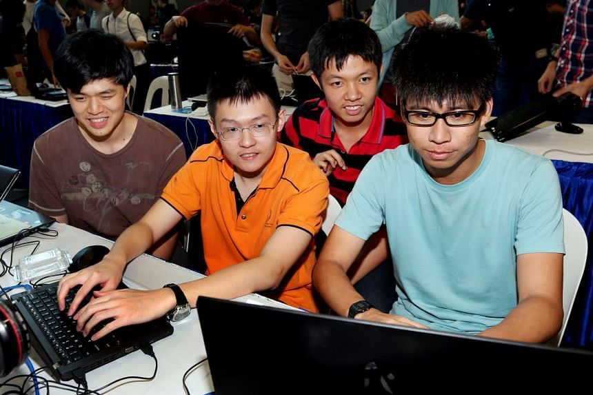 (From left) Sean Seet, Chua Anlong, Ang Zhi Yuan and Gabriel Wong, the members of Natus Vincere, the team that bagged first place at the Cyber Defenders Discovery Camp 2016.
