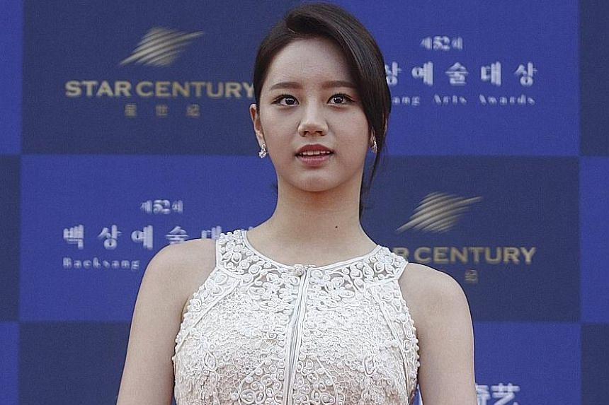 Reply 1988 star Hyeri (above) at the Baeksang Arts Awards in Seoul.