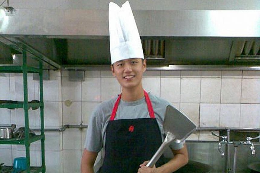 Mr Immanuel Tee as a cook during national service.