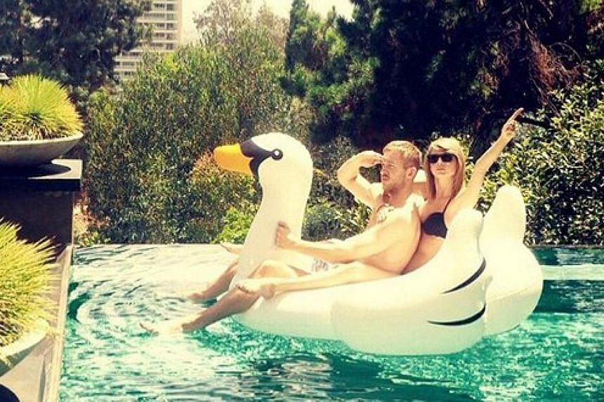 Singer Taylor Swift and musician Calvin Harris went public with their relationship via an Instagram post where they were seen on the back of a large inflatable swan, but they have since broken up.