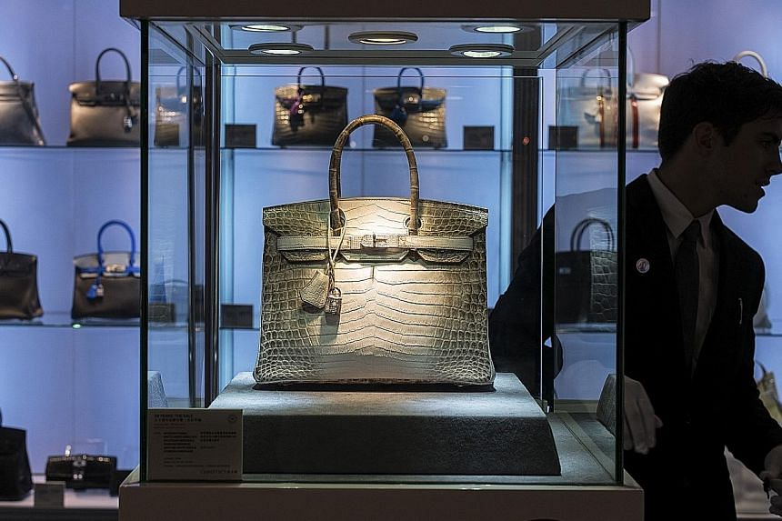 The Hermes Birkin matte Himalayan crocodile handbag which was auctioned for US$300,168 by Christie's Hong Kong.