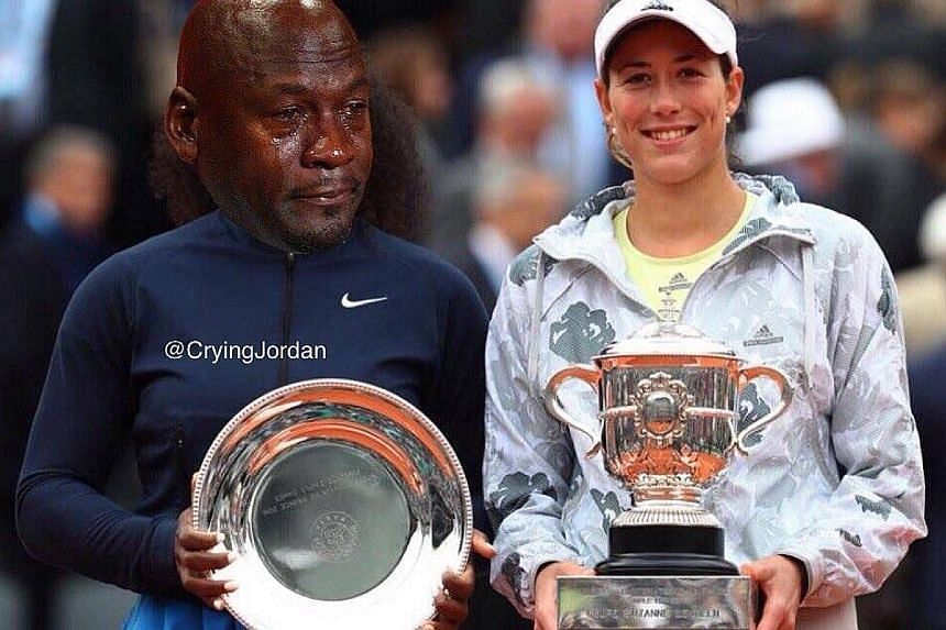 The tearing Michael Jordan meme next to the late Muhammad Ali and superimposed on Serena Williams (left) who was defeated by Garbine Muguruza (right) in the recent French Open.