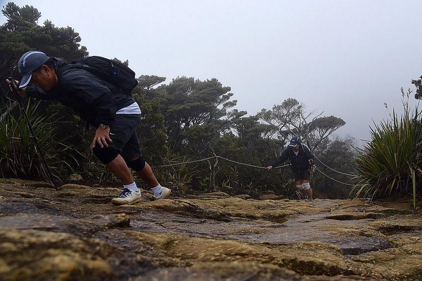 Couple Tonny Phuay and Joyce Lim making their way up the gruelling trail to Laban Rata, which is the rest point before the climb to the summit of Mount Kinabalu. Their daughter, Chantal, who was ahead of them, is a survivor of last year's earthquake.