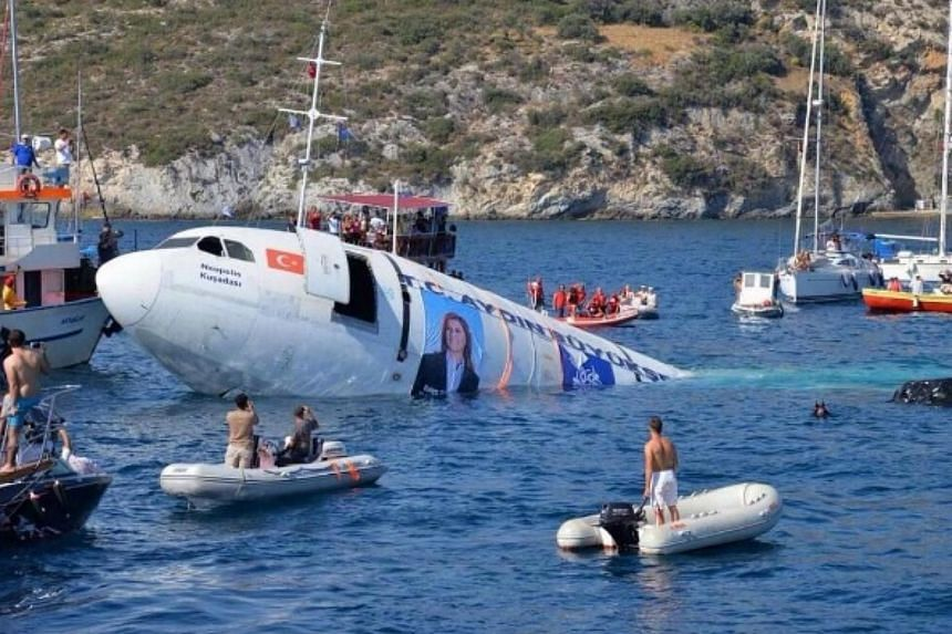 The Airbus jet being sunk off the popular resort of Kusadasi in Turkey's Aydin province.