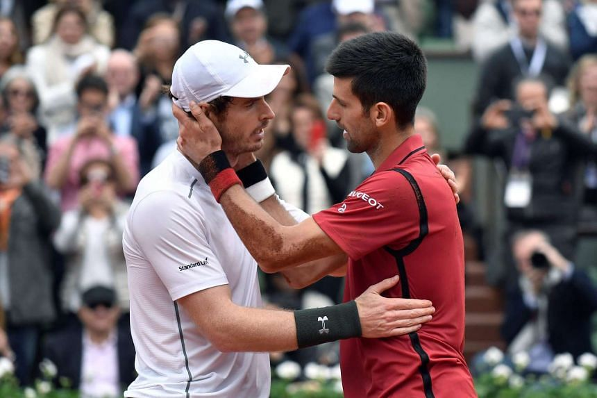 Britain's Andy Murray congratulates Serbia's Novak Djokovic at the Roland Garros 2016 French Tennis Open in Paris.