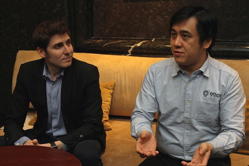 Mr Darius Cheung (right) and Mr Eduardo Saverin at the 99.co launch on May 26, 2016.