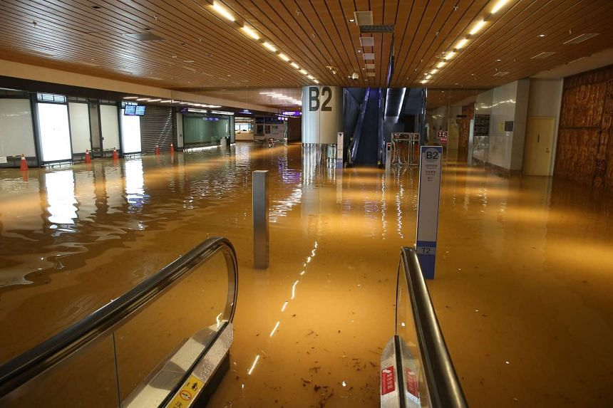 This picture taken on June 2 shows a flooded area inside the northern Taoyuan international airport.