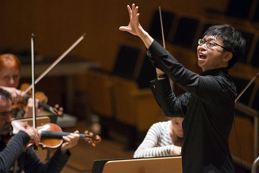 Singaporean conductor Wong Kah Chun leading the Bamberg Symphony Orchestra.