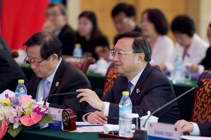 China's State Councillor Yang Jiechi (right) delivers a speech at the US-China strategic and economic dialogues in Beijing, on June 7, 2016.