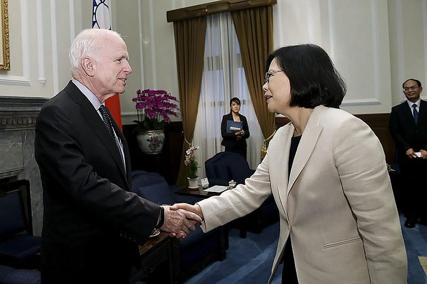 Senator John McCain said the US had faith that President Tsai would keep the status quo of relations with China, even as the island's Defence Minister said Taiwan would not recognise any ADIZ declared by Beijing.