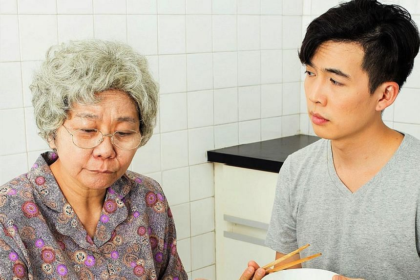 Grandmother Tongue by Thomas Lim is about a young man (Tan Shou Chen) connecting with his dialect- speaking grandmother (Jalyn Han, both above).