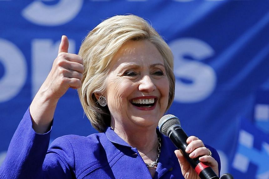 US Democratic presidential candidate Hillary Clinton speaking at a rally at Leimert Park, Los Angeles, on June 6.