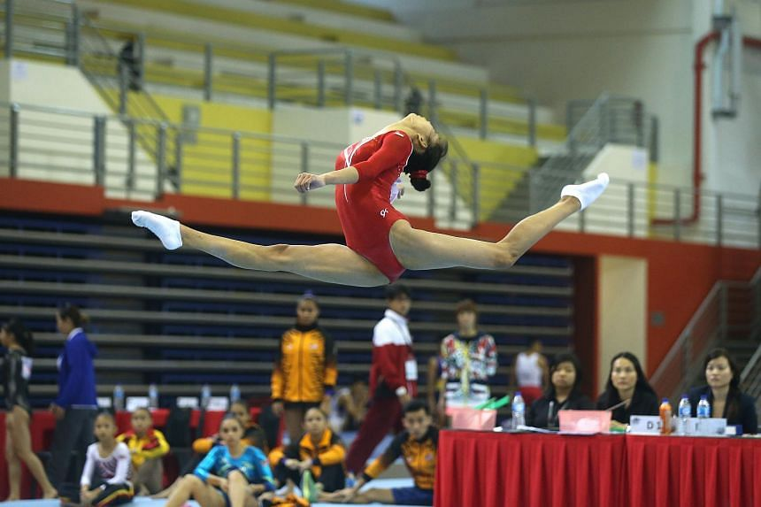 Singapore's Tan Sze En competing at the Singapore Open Gymnastics Championships at Bishan Sports Hall on June 6.