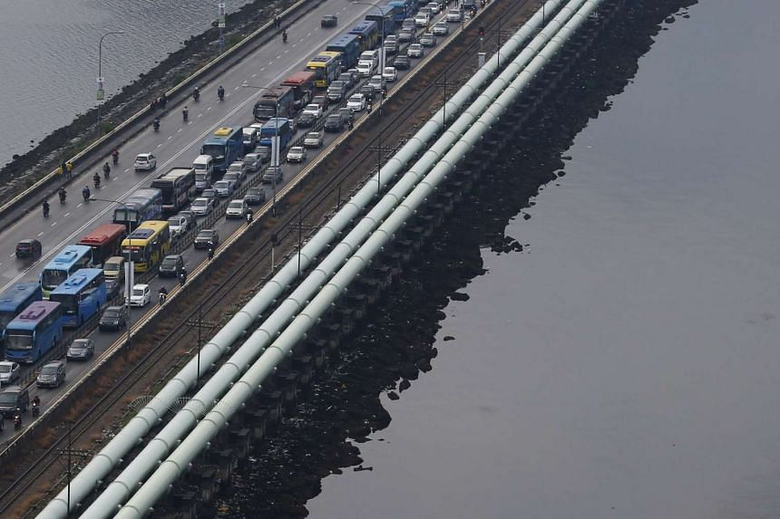 Water pipes running the length of the causeway between Singapore and Malaysia's southern city of Johor Bahru.