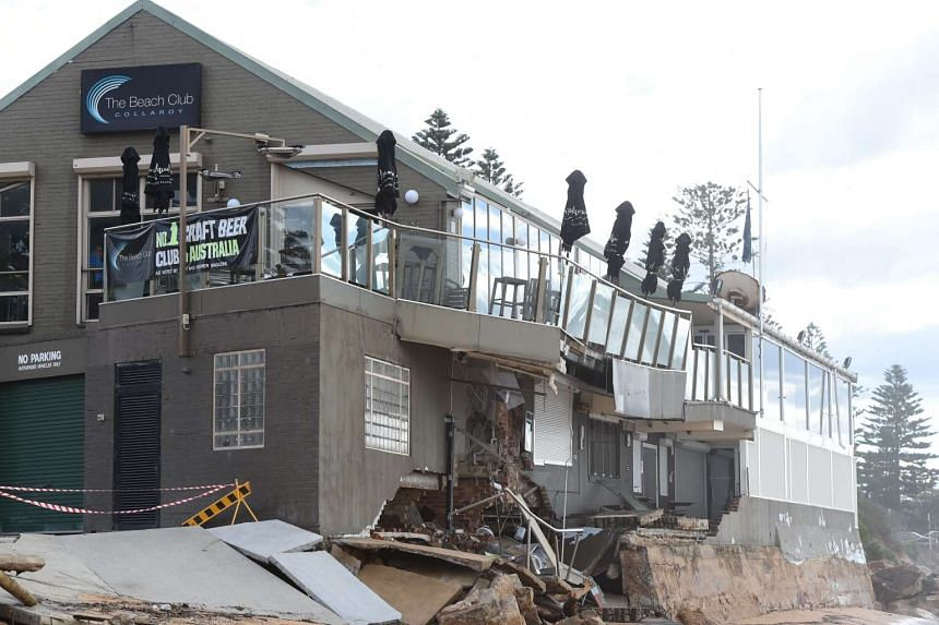 A view of the damaged Beach Club at Collaroy on the northern beaches of Sydney, on June 7, 2016.