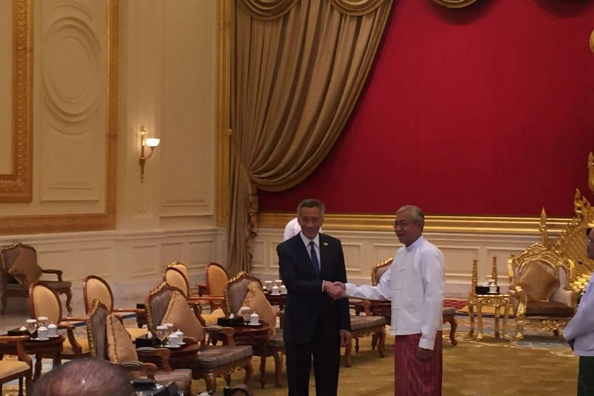 PM Lee Hsien Loong's call on Myanmar president Htin Kyaw in the presidential palace at Naypyitaw, Myanmar's capital.