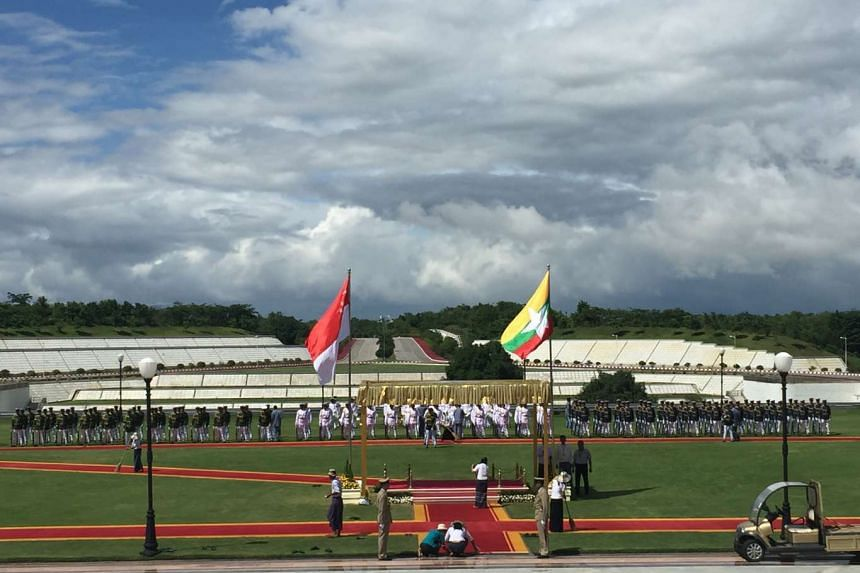 Preparations for the welcome ceremony for PM Lee at the Naypyitaw presidential palace.