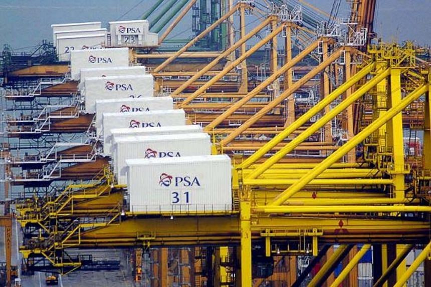 Containers handled by port operator PSA Corp seen in this 2003 file photo.