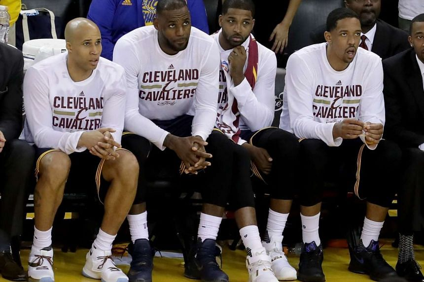 Richard Jefferson #24, LeBron James #23, Tristan Thompson #13 and Channing Frye #9 of the Cleveland Cavaliers sit on the bench during Game 2 of the 2016 NBA Finals.