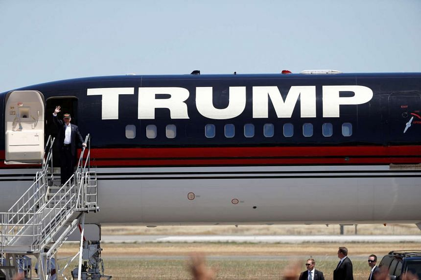 Republican US presidential candidate Donald Trump arrives at a campaign rally in Redding, California.