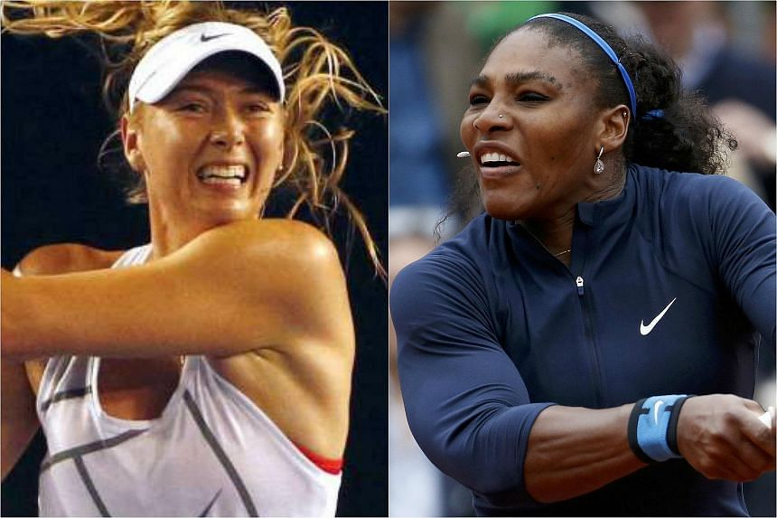 Russia's Maria Sharapova (left) and Serena Williams of the US.