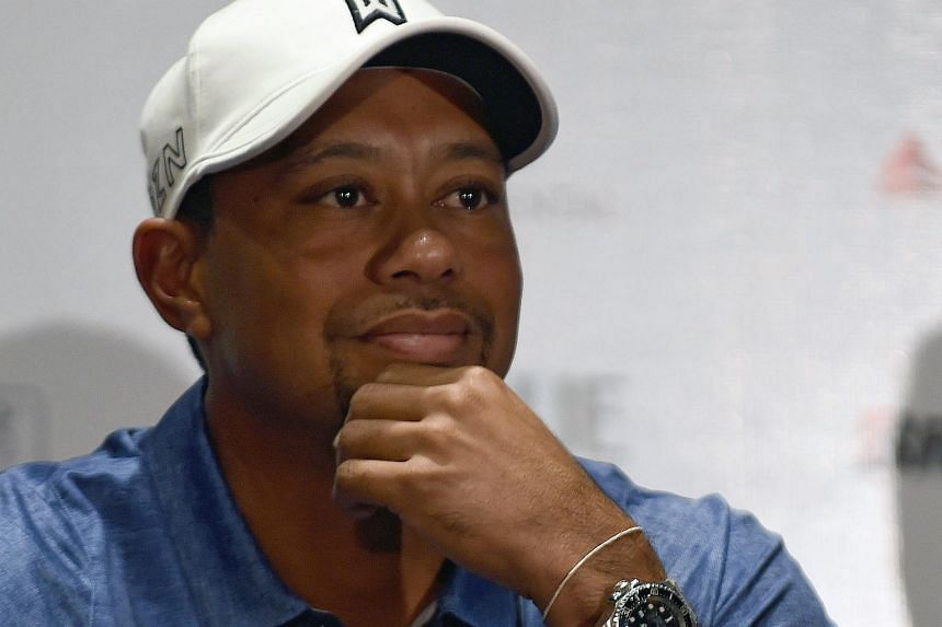 Tiger Woods at a press conference in Mexico City in 2015.