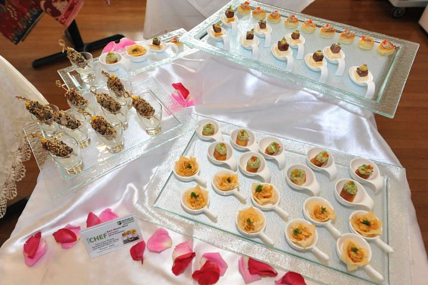 """For the Republic Polytechnic iChef Challenge 2016 Finals, participants came up with canapes according to the theme """"East Meets West"""", requiring a fusion between Asian and Western cuisine."""