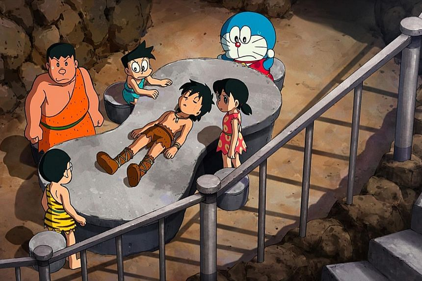Doraemon, Nobita and his friends meet a prehistoric caveboy in the remake of Nobita And The Birth Of Japan.
