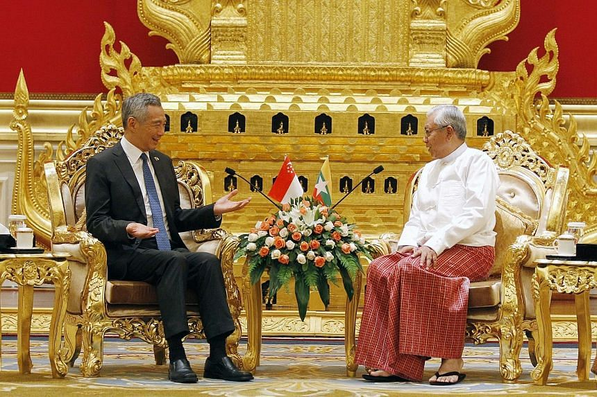 Mr Lee meeting Myanmar President Htin Kyaw in Naypyitaw yesterday. Mr Lee noted that the peoples of Singapore and Myanmar have kept up the countries' historical links and grown closer.