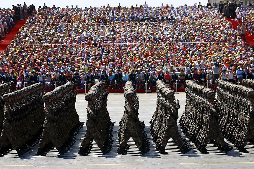People's Liberation Army soldiers marching in a parade to mark the 70th anniversary of the end of World War Two, in Beijing, on Sept 3, 2015.