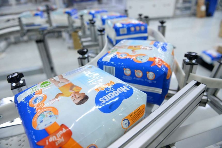 Huggies diaper pants produced at Kimberly-Clark's new manufacturing line in Tuas.