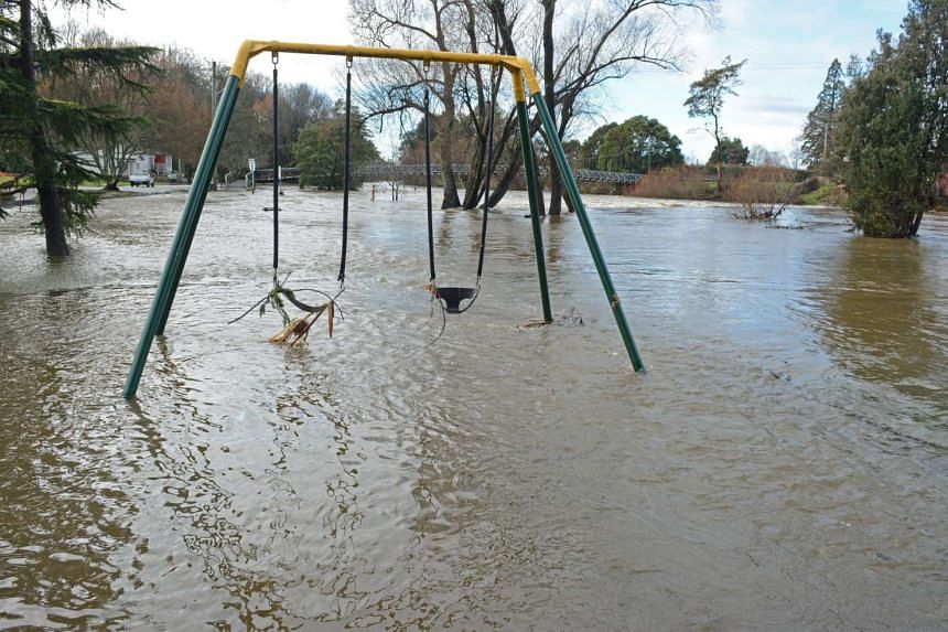 A flooded playground in Deloraine, Tasmania, on June 7.