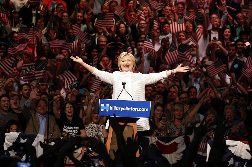 Democratic US presidential candidate Hillary Clinton at her California primary night rally in Brooklyn, New York, on June 7.