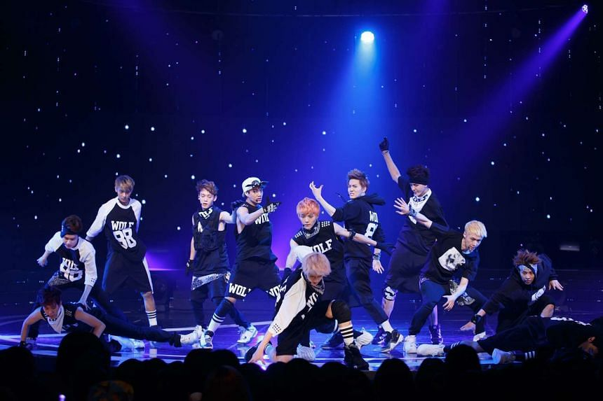 K-pop group EXO performing at a studio on Seoul, South Korea on July 4, 2013.