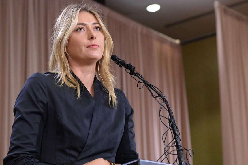 Sharapova speaks to the media, announcing a failed drug test in March 2016.