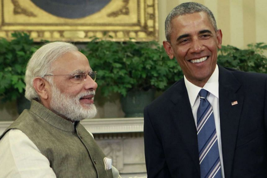 US President Barack Obama (right) meeting with Indian Prime Minister Narendra Modi at the White House on June 7.