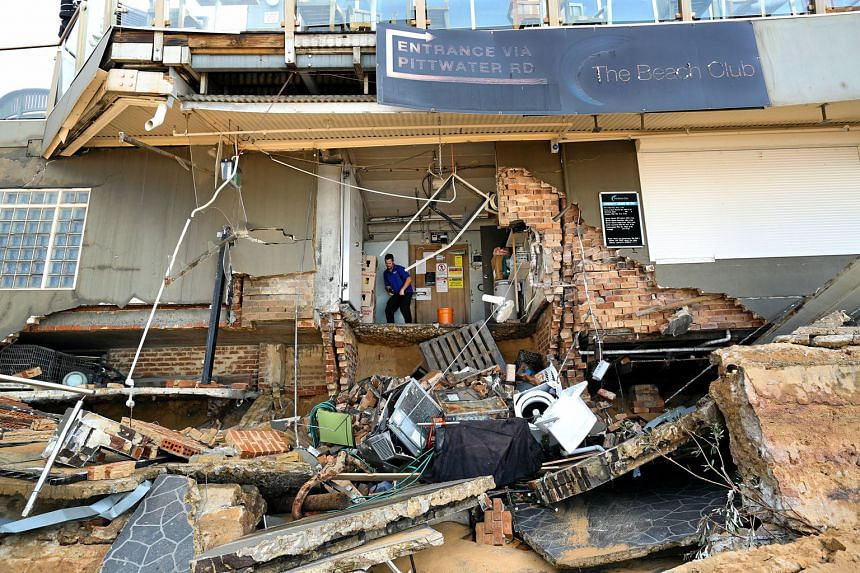 The Beach Club at Collaroy beach in Sydney after it was battered by the powerful storm that has lashed Australia's east coast. The northern suburb of Collaroy has lost up to 50m of the beach.