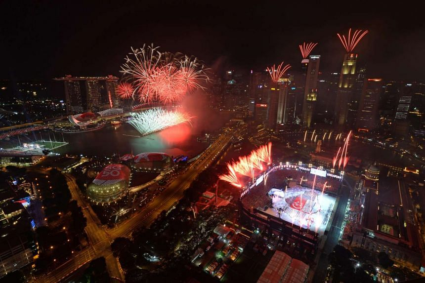 The fireworks display at the Padang during the National Day Parade on Aug 9, 2015.