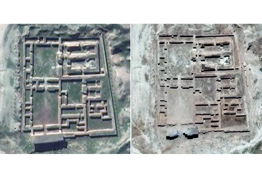 A handout photo from the United Nations Institute for Training and Research shows before (left) and after satellite imagery of the Nabu Temple in the ancient Assyrian city of Nimrud in northern Iraq.