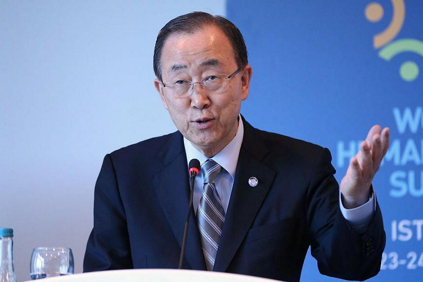 UN Secretary-General Ban Ki Moon speaking at the World Humanitarian Summit in Istanbul on May 24.