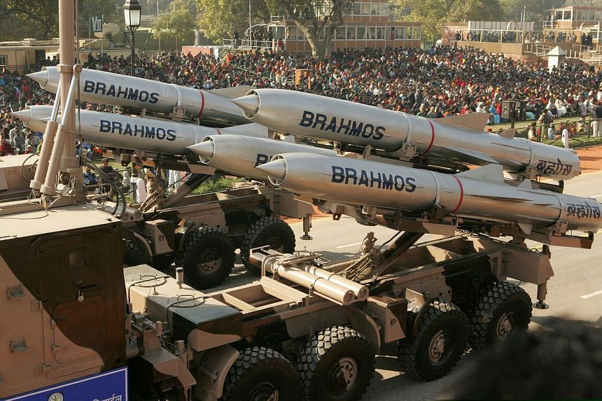 India's Brahmos supersonic cruise missiles pass by during a full dress rehearsal for the Republic Day parade in New Delhi, India, Jan 23, 2006.