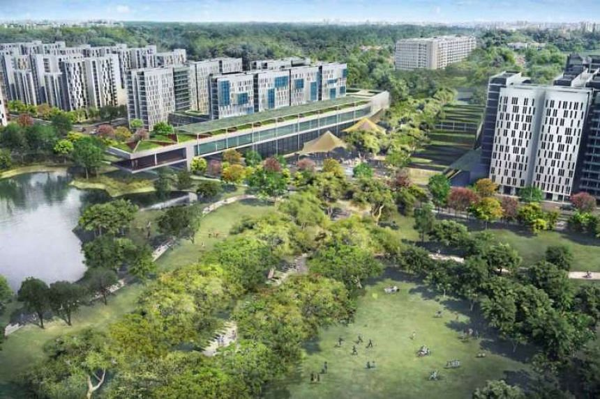 An artist's impression of the new Bidadari housing estate, one of HDB's three upcoming heartlands.