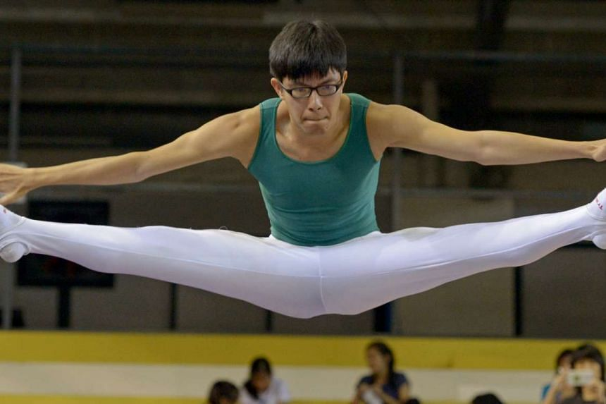 Lee Kern Choong in action at the Singapore Open Gymnastics Championships at the Bishan Sports Hall, June 8.