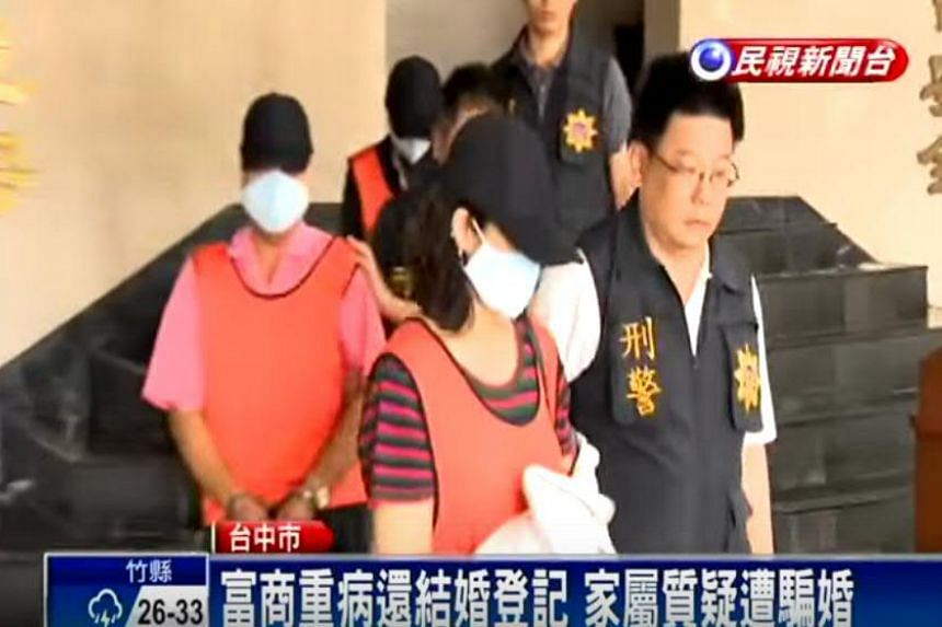 Huang Kuan-chen, 55, and Liu Wen-pin, 63, were arrested by Taichung police on June 7 for suspected fraud.